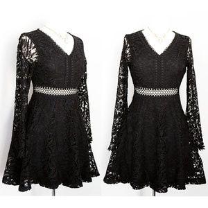 Black Crochet Lace Overlay Fit Flared Skater Dress